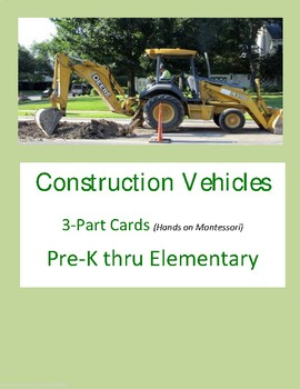 Construction Vehicles 3-Part Cards (Hands on Montessori)