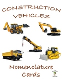 Construction Vehicles 3 Part Nomenclature Cards with Real