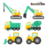 Construction Vehicles Clip Art - Great for Art Class Projects!