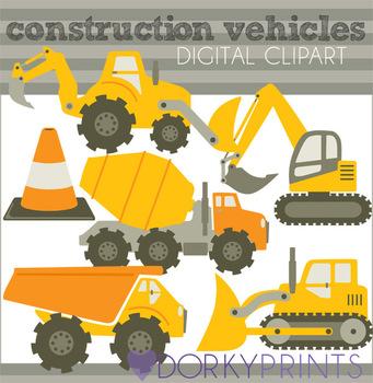 Construction Vehicles Clip Art in Orange