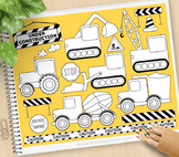 Construction Vehicles Clipart - BLACKLINE - color me, with outlines