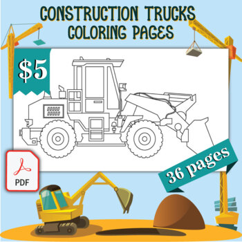 Construction Trucks Coloring Pages 36 Printable Coloring Sheets 8 5 X 11