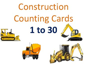 Construction Vehicles Counting Cards (20 Cards)