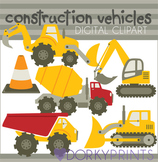 Construction Vehicles Digital Clip Art - Bulldozer, Dump Truck, etc.