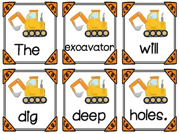 Construction Vehicles Sentence Scramble
