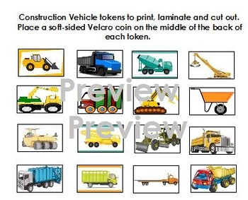 Construction Vehicles Token Board- Autism, ABA, Special Ed.