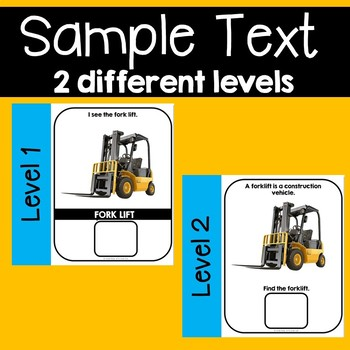 Construction Vehicles Transportation Adapted Book Unit with Real Images 2 levels