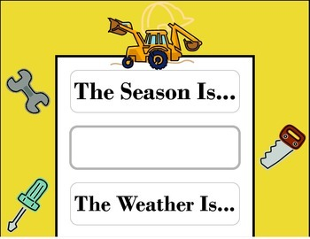 Construction Weather Chart! Construction Bulletin Board! Construction Theme!