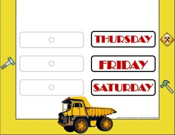 Construction Weekday Chart! Construction Bulletin Board! Construction Theme!