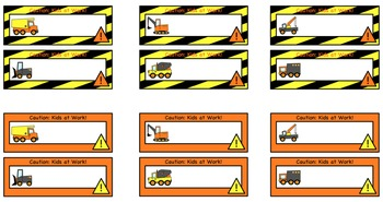 Construction: Welcome Banner with Editable Worker, Trucks, and Name Tags