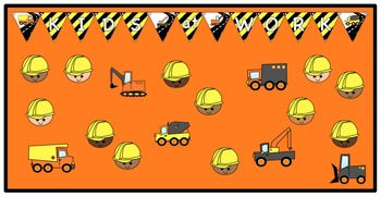 Construction: Welcome Banner with Editable Worker, Trucks,