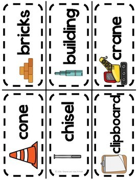 Construction Word Wall Picture Cards!