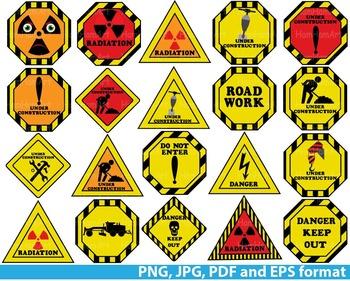 Construction Work Signs School Teachers danger skull caution Warning -091-