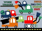 Construction Work Trucks Clipart for Personal and Commercial Use