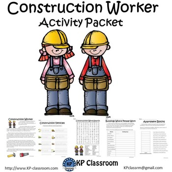 Construction Worker No Prep Activity Packet and Worksheets