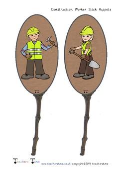 Construction Worker Stick Puppets