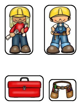 Construction Workers File Folder Game