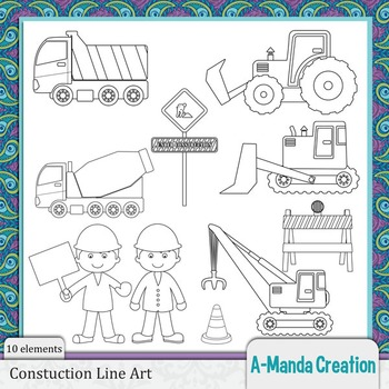 Construction and Trucks Line Art and Digital Stamps