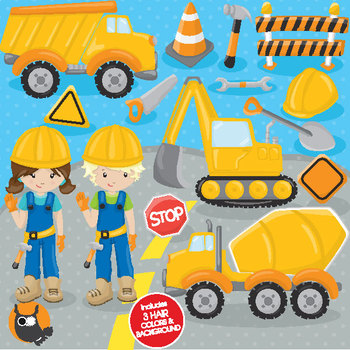 Construction crew clipart commercial use, vector graphics  - CL781