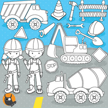 Construction crew stamps commercial use, vector graphics, images  - DS781