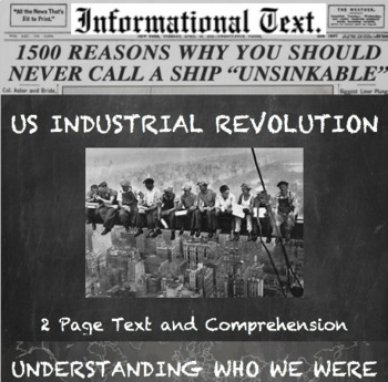 The Industrial Revolution in America--Informational Text Worksheet