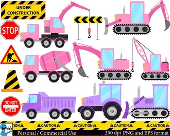 Construction purple and pink Digital Clip Art Graphics 26 images cod142
