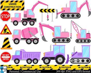 Construction purple and pink Digital Clip Art Graphics 26