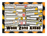 Construction themed Desk Nameplates with manuscript alphabet strip