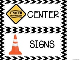 Construction themed center signs