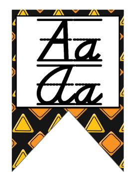 Construction themed print and cursive Alphabet banner