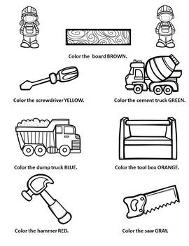 Construction Tools Vehicles Coloring Page Following Directions
