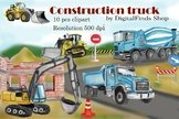 Construction truck clipart, dump truck, excavator clipart