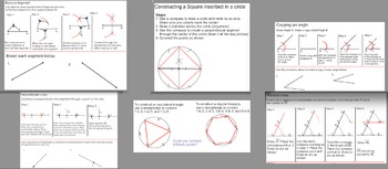 Constructions: Copy angle, draw lines through points, bisect, etc.