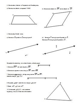 Constructions Day 4: Medians, Altitudes, Parallel Lines, and review (Editable)