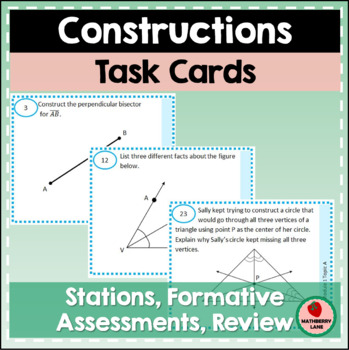 Constructions Geometry Task Cards for Practice Review Stations Activity