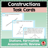 Constructions Geometry Task Cards for Practice Review Stat