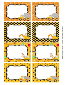 Construction Trucks Theme Classroom Decor Bin Labels