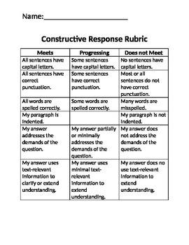 Constructive Response Rubric