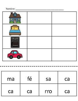 Construir palabras * Sílabas con ca | Building words * Syllables with ca Spanish