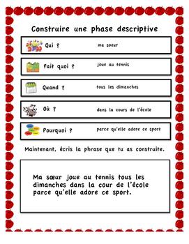French Immersion (Writing descriptive sentences)