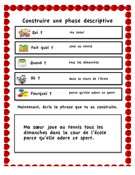 French Immersion (Writing descriptive sentences)
