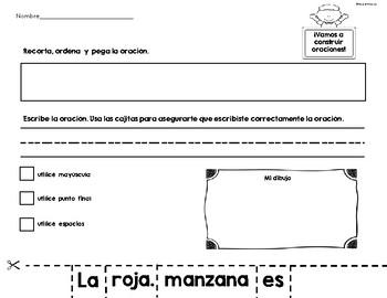 Construyendo oraciones-Building Sentences