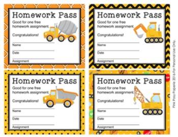 Construction Trucks Homework Passes