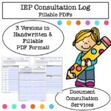 Fillable Consultation Service Log for Service Providers, SLPs, OTs, and More