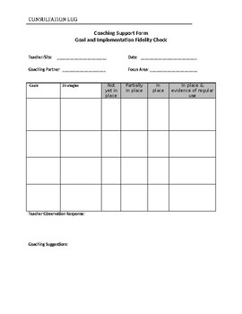 Consultation or coaching log template