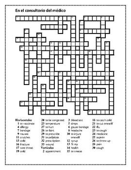 Consultorio del médico (Doctor's office in Spanish) Crossword