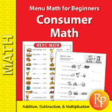 Menu Math for Beginners : addition, subtraction, multiplication activities