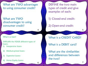Consumer Credit Task Cards