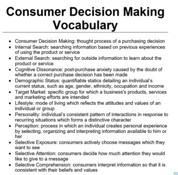 Consumer Decision Making Full Lesson