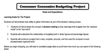 Consumer Economics Budgeting Project
